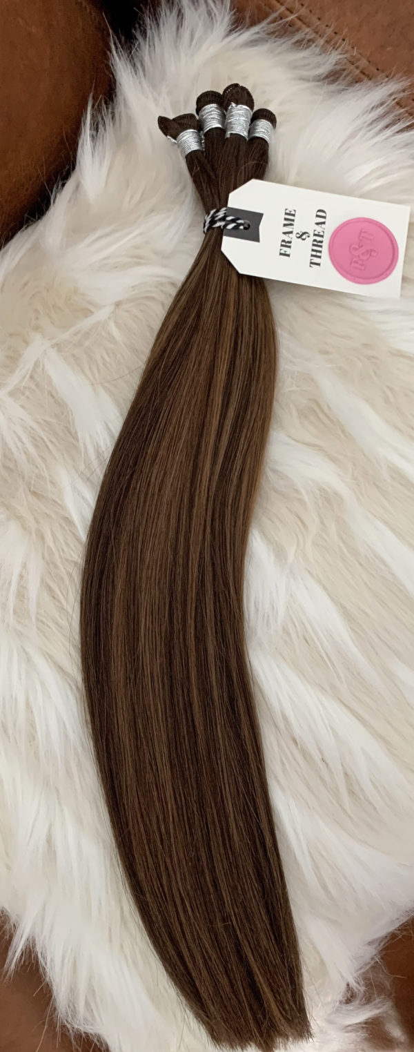 Brunette Rooted and Balayage Hand-Tied Weft Extensions