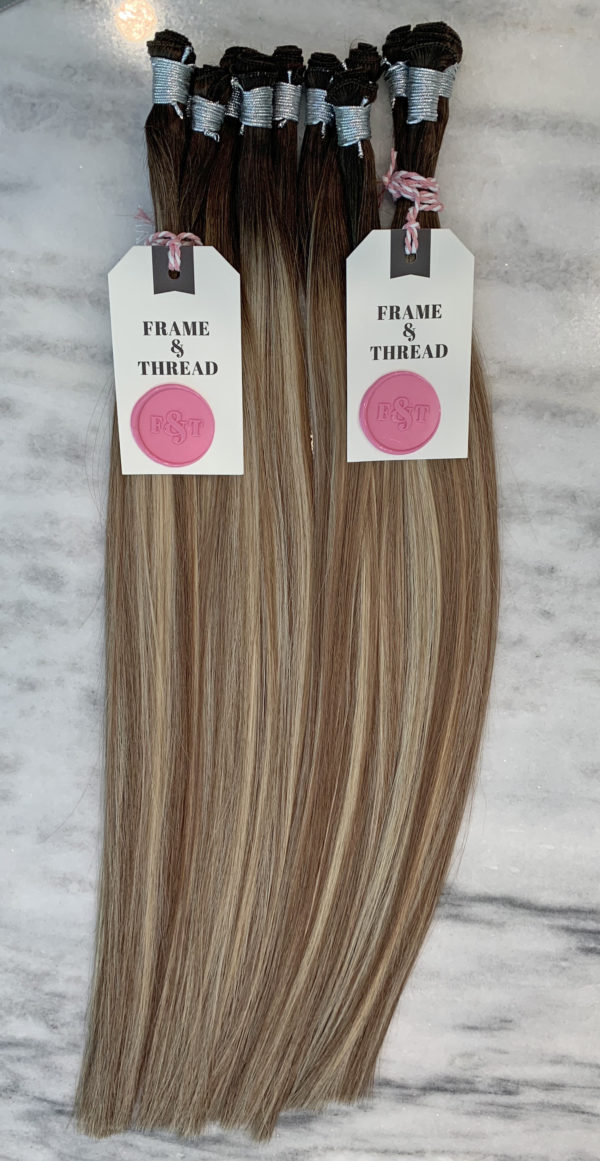 Blonde Rooted and Balayage Hand-Tied Weft Hair Extensions
