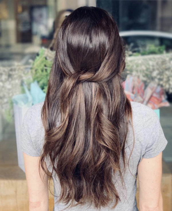 Brunette Rooted and Balayage Hand-Tied Weft Hair Extensions