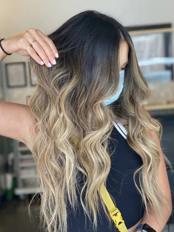 Blonde Balayage Rooted Hand-Tied Weft Hair Extensions